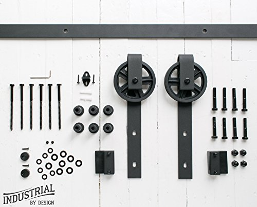 8-Foot Big Wheel Sliding Barn Door Hardware Kit (Black) â–« Includes Easy Step-By-Step Installation Video â–« One-Piece Rail, Industrial Spoke Wheel â–« Ultra Quiet, Tested Beyond 100,000 Rolls