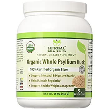Herbal Secrets USDA Certified Organic Psyllium Husk 16 Oz - Vegan, dairy free, GMO free, gluten free, no sugar, and no artificial sweeteners