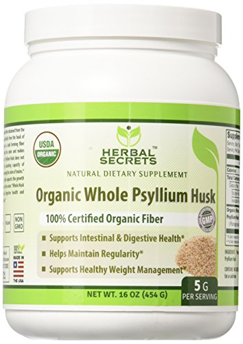 (Herbal Secrets USDA Certified Organic Psyllium Husk 16 Oz - Vegan, dairy free, GMO free, gluten free, no sugar, and no artificial)