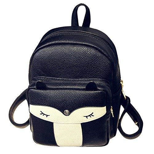 Naiver Girl School Bag Travel Cute Mini Leather Fox Fashion Backpack Small Daypacks Purse (Black)