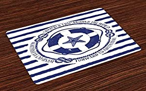 Ambesonne Starfish Place Mats Set of 4, Trip Around The World Nautical Emblem with Lifebuoy Starfish Striped Design, Washable Fabric Placemats for Dining Room Kitchen Table Decor, Navy Blue White