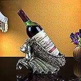 XiYunHan European Deer Resin Crafts Wine Rack Hotel KTV Practical Ornaments Wine Cabinet Ornaments Modern Home Living Room Crafts Ornaments Wine Bottle Rack Indoor Desktop Display Stand