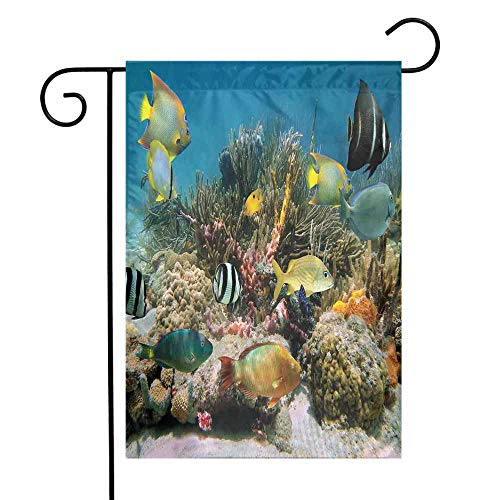 Mannwarehouse Ocean Garden Flag Colorful Coral Colony on Reef Beautiful Shoal of Tropical Fish Caribbean Sea Picture Premium Material W12 x L18 Multicolor