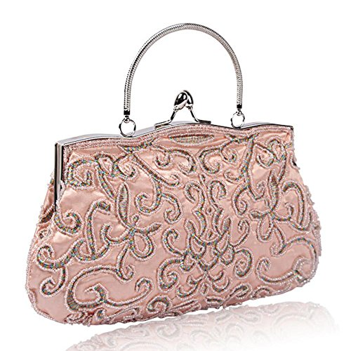 Satin 22cm£© Banquet NVBAO Bags champagne Handbag£¬ X Party Retro Women Beaded £¨28 Evening Clutch 6BBFqX