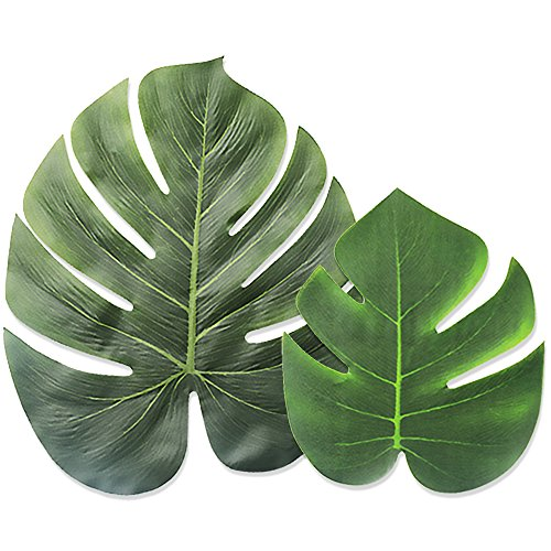 LEOBRO Tropical Palm Leaves Simulation Leaf Artificial Tropical Green Plant Leaves 13 Inch and 8 Inch Combination Leaves for Hawaiian Luau Party Decoration Shipping by FBA (20 Pieces)