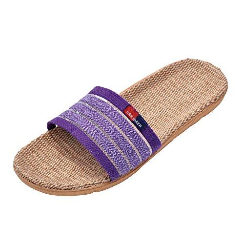 Open-Toe Women Linen Striped Slipper Purple Home Bath Slippers House Sandals for Summer Lightweight Breathable