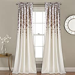 "Lush Decor Décor Weeping Flower Room Darkening Window Curtain Pair 2"" Header, Panel 84"" x 52"", Purple and Gray"