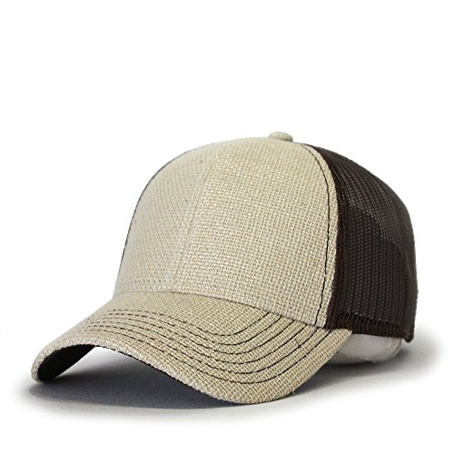 Vintage Year Plain Two Tone Cotton Twill Mesh Adjustable Trucker Baseball Cap (Burlap Natural/Dark Brown)