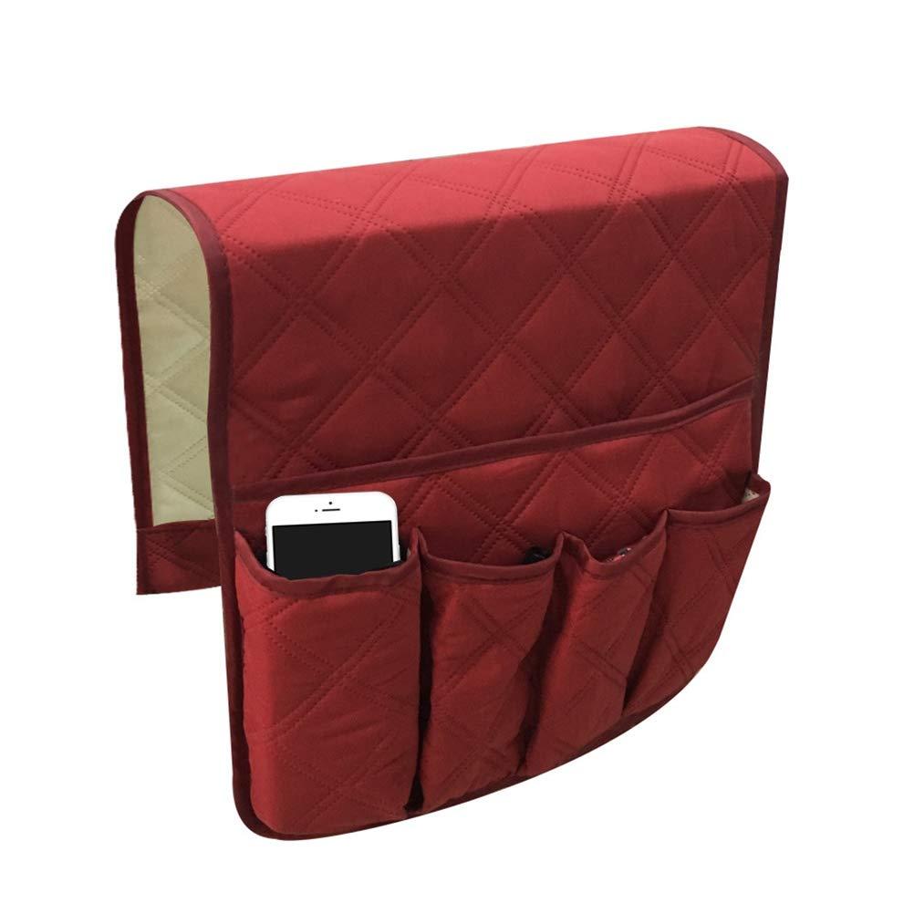 OUNONA Portaoggetti letto Tasche portaoggetti per cellulare telecomando riviste occhiali Vano portaoggetti per il letto o divano (Rosso)