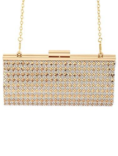Bag Fabric Formal Clutch MAB40009 Metalic Shoulder Rhinestones Purse GOLD qYR7Oxf