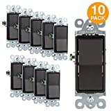 Enerlites Decorator Light Switch On/Off Paddle Wall Switch 91150-DB | 15A, 120V/277 VAC, Single Pole, Grounding Screw, Residential Grade Light Switch, UL Listed | Dark Bronze | 10 Pack
