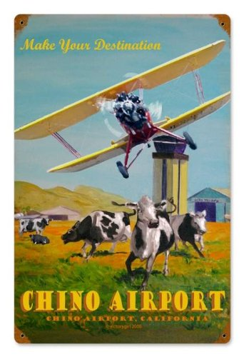 Past Time Signs VG007 Chino Airport Aviation Vintage Metal Sign from Past Time