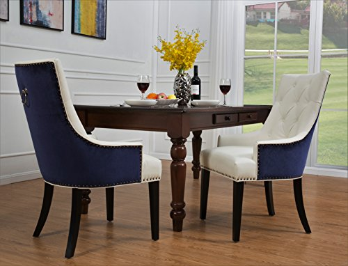 - Iconic Home Cadence Dining Side Chair Button Tufted PU Leather Velvet Polished Brass Nailheads Espresso Finished Wooden Legs, Navy - White, Modern Transitional
