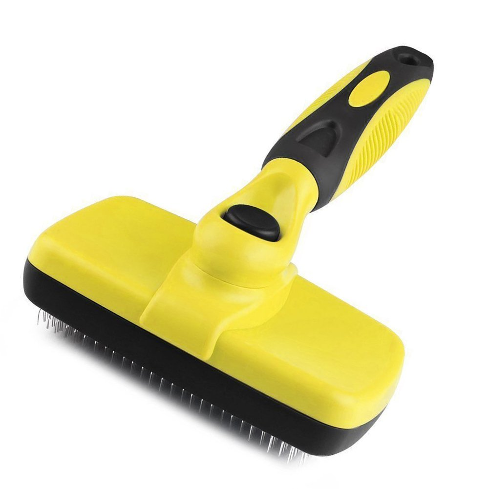 Pet Self-Cleaning Slicker Brush TOOYU Removes Tangled Matted Fur from Cats and Dogs and Reduces Shedding-Clean with Comfort-Suitable, Professional Pet Grooming Brush for Long or Short Hair