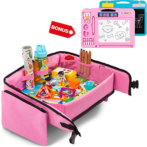 - Toddler Travel Tray (Pink) + Bonus 2 in 1 Magnetic Drawing Board & Chalkboard |Car Seat Tray for Kids | Car Seat Travel Trays | Lap Desk, Activity Tray, Stroller Tray, Play Tray