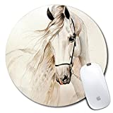 Personalized Round Mouse Pad, Printed White Horse Pattern, Non-Slip Rubber Comfortable Customized Computer Mouse Pad (7.87x7.87inch)