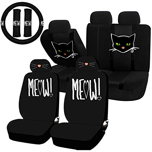 - UAA 22pc Cat Lover Cute Friendly Pet Girly Universal Seat Cover Steering Combo Set