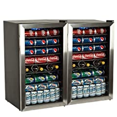 The EdgeStar 206 Can and 10 Bottle Extreme Cool Beverage Cooler (BWC120SSDUAL) with stainless steel finish stores up to 206 standard 12 oz. cans and 10 bottles, giving you ample space to store your beers, sodas, waters, wine and much more. Of...