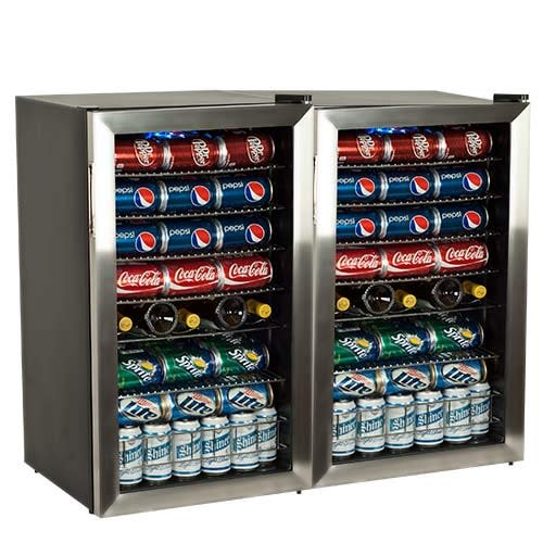 (EdgeStar BWC120SSDUAL 206 Can and 10 Bottle Side-by-Side Ultra Low Temp Dual Unit Beverage Cooler)