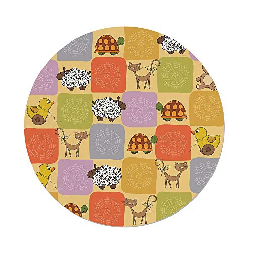nd Tablecloth,Nursery,Toys Animals in a Checkered Background Teddy Bears Sheep Cats Duck Toys Decorative,Tan Multicolor,Dining Room Kitchen Picnic Table Cloth Cover Outdoor Indoo ()