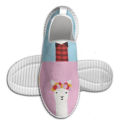 Zapatillas De Deporte Casual Alpaca Llama Cómodas Zapatillas Deportivas Elásticas Unisex Para Adolescentes Blanco