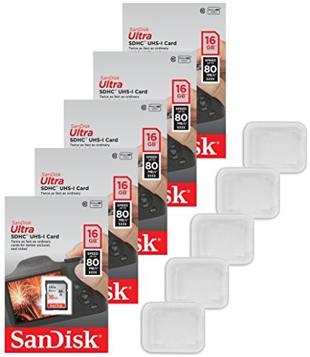 Lot of 5 SanDisk Ultra 16GB Class 10 SDHC UHS-I Memory Card. Read speed up to 80MB/s, Gray/Black SDSDUNC-016G-GN6IN Pack + ( 5 Jewel Cases )