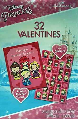 Disney Princess 32 Valentines Exchange Cards with Stickers and Teacher Card
