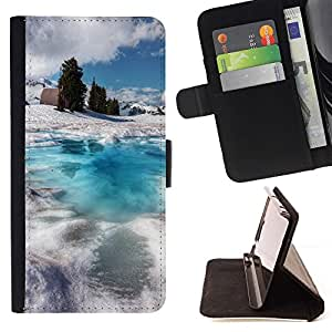 For HTC One M9 Funny Friendly Husky Painting Watercolor Beautiful Print Wallet Leather Case Cover With Credit Card Slots And Stand Function