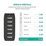 RAVPower 60W 12A 6-Port USB Charger Desktop Charger Charging Station with iSmart Technology (Black)
