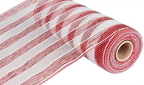 10 inch x 30 feet Deco Poly Mesh Ribbon (Red & White Striped)