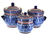 Polish Pottery Blue Art Large Canister Set