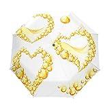 WIHVE Valentine's Day Gold Heart Love Umbrella Auto Open Close Windproof Compact
