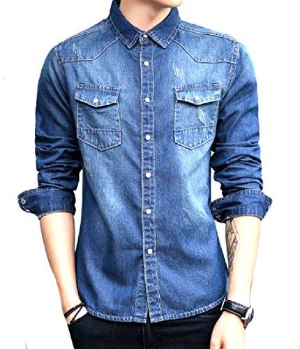 Tootless-Men Ripped Preppy Chic Back Flap Pocket Vintage Jean Shirt Dark Blue - Mens Preppy Blazer