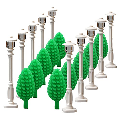 White Street Lamp & Tree for Major Brand City Block Parts Garden House Building Block Toy Street Light Children Gifts