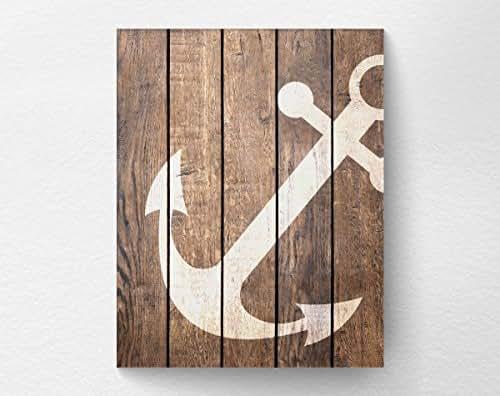 Nautical anchor wall art print poster decor for Bathroom art amazon