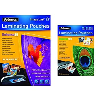 transparent 80 Mikron, DIN A4, 100 Stück Fellowes ImageLast Laminierfolien