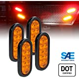 "4pc 6"" Oval Amber LED Trailer Tail Lights [DOT Certified] [Grommet & Plug Included ] [IP67 Waterproof] Park Turn Trailer Lights for RV Jeep Trucks"