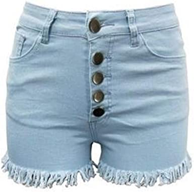 Nobrand Pantalones Cortos De Mujer De Moda Casual Color Solido Cintura Alta Pantalones Vaqueros Usados A Mano Cierre De Boton Pantalones Cortos Azul Azul Claro M Amazon Es Ropa Y Accesorios