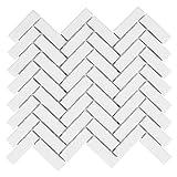 White Porcelain Herringbone Gloss Finish Mosaic 1'' X 3'' (Box of 10 Sheets), Wall Tile, Backsplash Tile, Bathroom Tile on 12x12 Mesh for Easy Installation