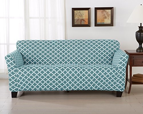 Home Fashion Designs Form Fit, Slip Resistant, Stylish Furniture Cover/Protector Featuring Lightweight Stretch Twill Fabric. Brenna Collection Strapless Slipcover. By (Sofa, Smoke Blue)