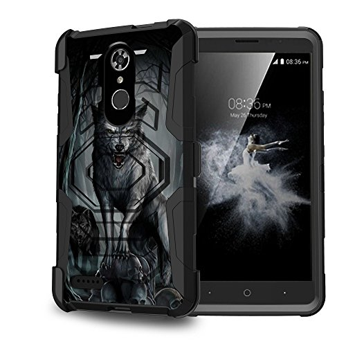 Untouchble Case for [ZTE Blade Max 3 Case, ZTE Max XL, ZTE Max Blue LTE] Heavy Duty Shell Case with Built In Kickstand Rotating Heavy Duty Holster Belt - Midnight Wolf by Untouchble
