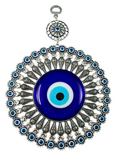 - EA Gift Global Big Glass Blue Evil Eye Bead (Nazar) with Heart Quality Amulet Wall Hanging Decoration Ornament - Home Blessing Good Luck and Protection Charm (Alternative 03)