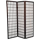 Oriental Furniture 5 ft. Tall Window Pane Shoji Screen - Walnut - 3 Panels
