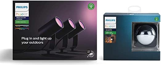 Philips Hue Impress White and Colour Ambiance LED Smart Garden Wall Light Google Assistant and Apple HomeKit Works with Alexa Slim + Outdoor Motion Sensor Bundle