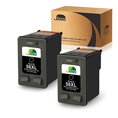 JARBO Remanufactured Ink Cartridges Replacement for HP 56 56 XL 56XL, Used with Deskjet 5150 5550 5650 5850 Photosmart 7260 7350 7450 7550 7660 7760 7960 Officejet 4215 PSC 1210 1315 Printer, 2 Black (Hp 56 57 Ink Cartridges Best Price)