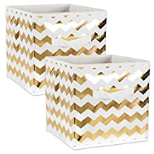 """DII Foldable Fabric Storage Containers for Cube Organizers, Toys, Cloths or Knick Knacks (Set of 2), 13 x 13 x 13"""", Chevron Gold"""