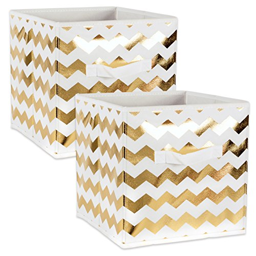 "DII Fabric Storage Bins for Nursery, Offices, & Home Organization, Containers Are Made To Fit Standard Cube Organizers (11x11x11"") Chevron Gold - Set of 2 from DII"
