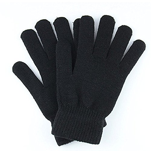 Women's Gloves Ladies Magic Knit Gloves Solid Colors ... (Black, M)