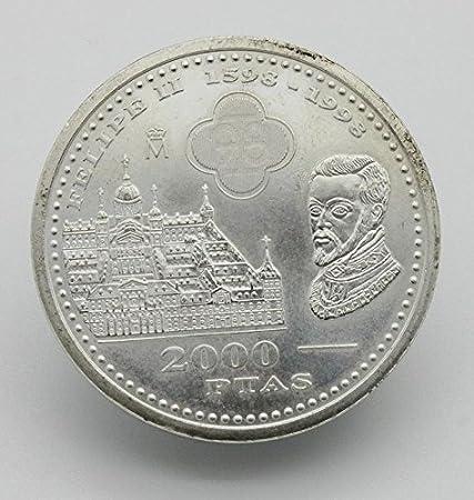 Desconocido Moneda de 2000 Pesetas de Plata Edición Felipe II del Año 1998: Amazon.es: Juguetes y juegos