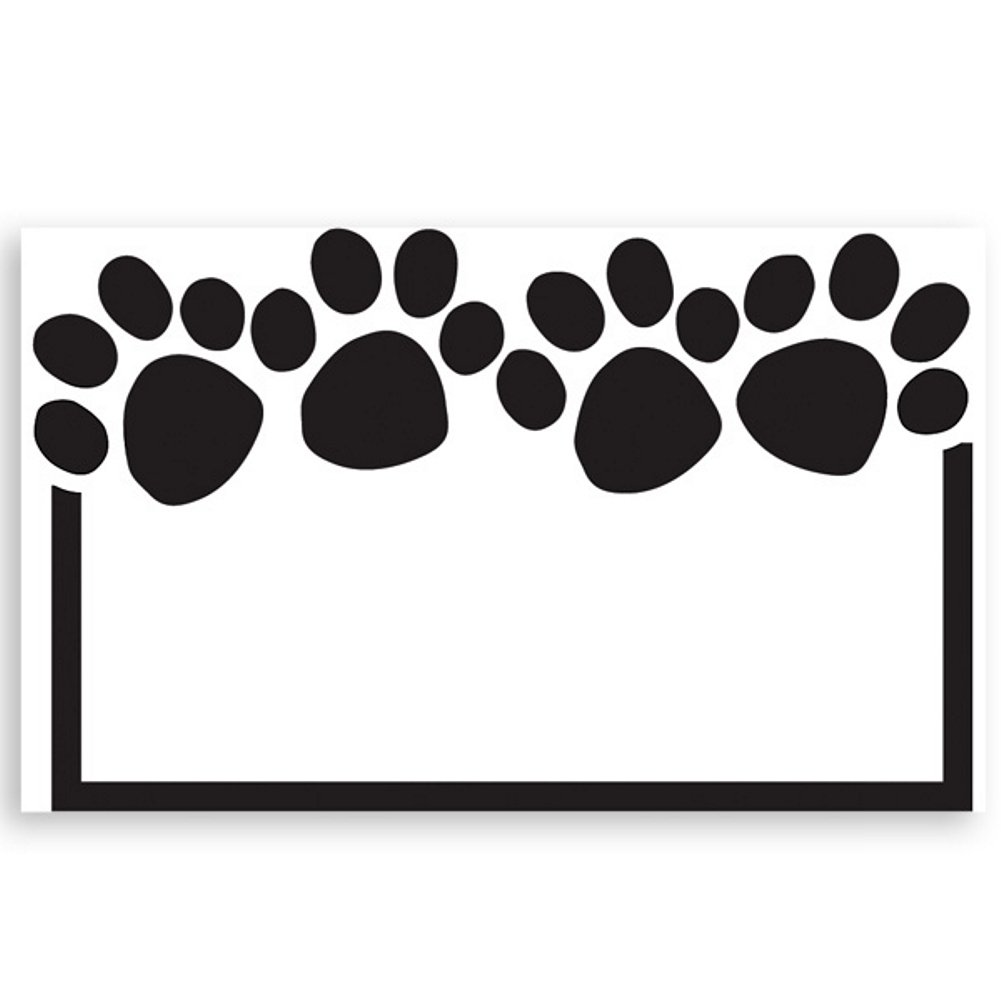 Paw Print White Enclosure Cards - 3-1/2in. x